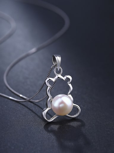 Personalized Hollow Bear Freshwater Pearl 925 Silver Pendant