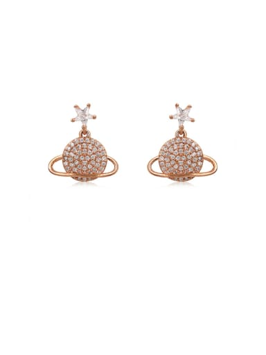 Copper With Cubic Zirconia Simplistic Round Stud Earrings