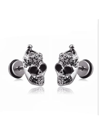 Stainless Steel With Personality Skull Stud Earrings
