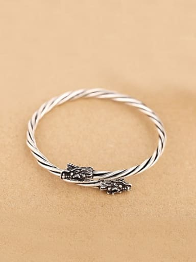 Retro style Dragon-head Twisted Bangle