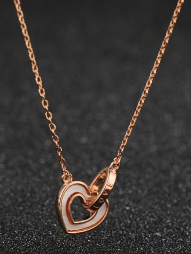 925 Sterling Silver With Rose Gold Plated Simplistic Heart Locket Necklace