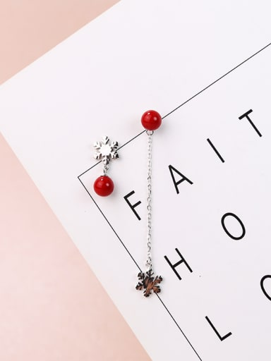 Fashion Asymmetrical Little Snowflake Red Beads 925 Silver Drop Earrings
