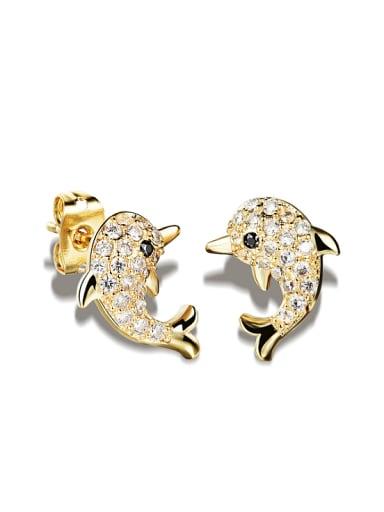 Tiny Dolphin Rhinestones Stud Earrings