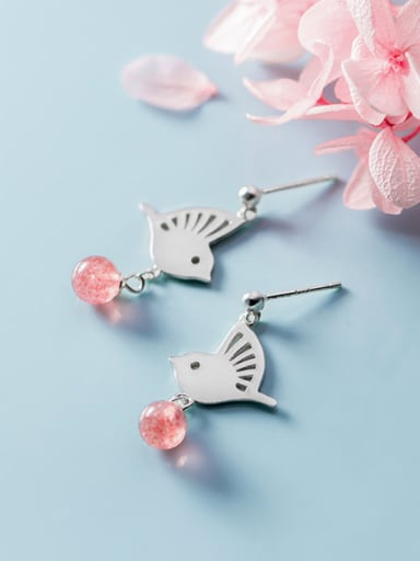 925 Sterling Silver With Platinum Plated Cute Little Bird  Drop Earrings