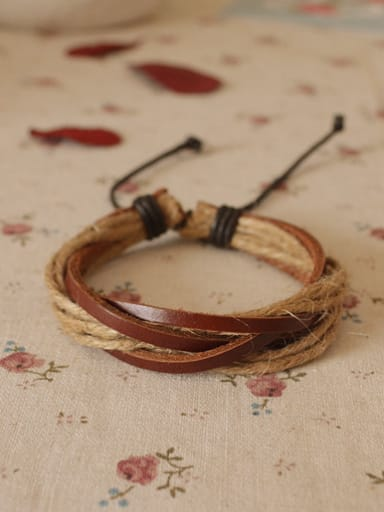 Men Adjustable Cownhide Leather Bracelet