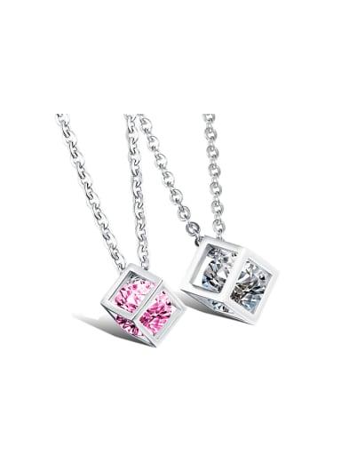 Fashion Hollow Cube Zircon Titanium Lovers Necklace