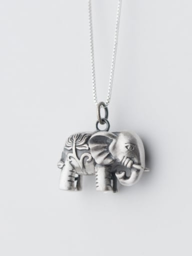 Women Lovely Elephant Shaped S925 Silver Pendant