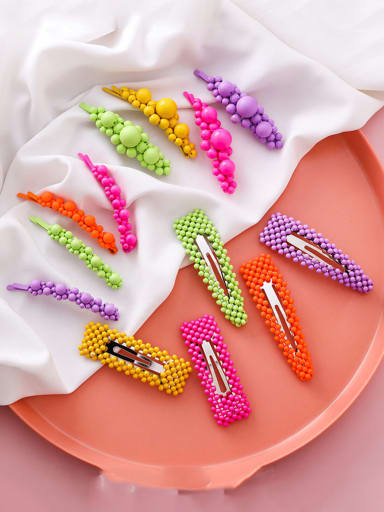 Alloy With Platinum Plated Candy-colored beads  Barrettes & Clips