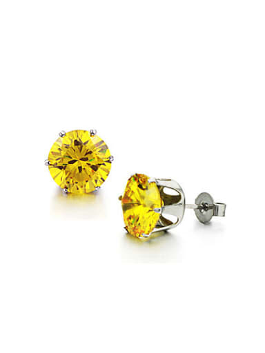 Simple Tiny Yellow Rhinestones Titanium Stud Earrings