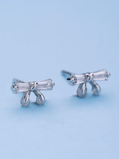 All-match Bowknlt Shaped Silver stud Earring