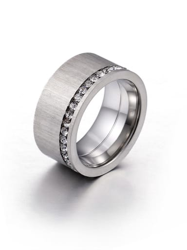 Stainless Steel With Rhinestone Band Rings