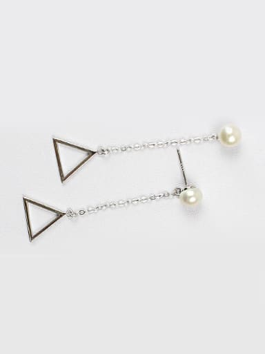 Fashion Hollow Triangle Artificial Pearl Stud Earrings