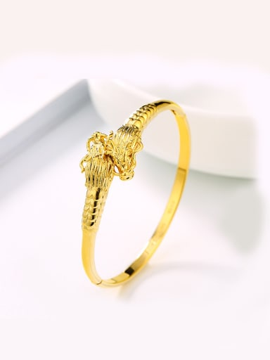 Copper Alloy Gold Plated Classical Dragon Head Bangle