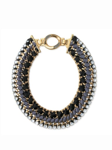 Alloy Gold Plated Exaggeration Hand-Knitted Necklace