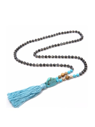 Shining Natural Stones Cloth' Accessories Tassel Necklace