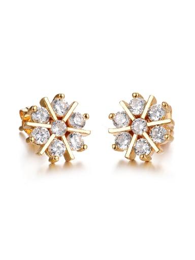 Fashion Snowflake Zircon Gold Plated Stud Earrings