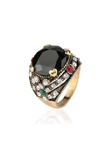 Retro style Black Round Resin stone Crystals Alloy Ring