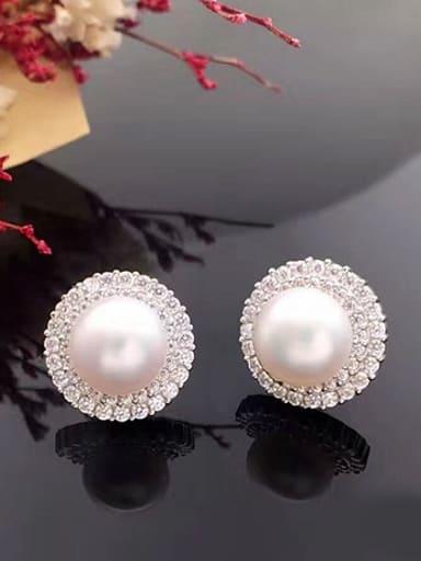Fashion Freshwater Pearl Zircon Round stud Earring