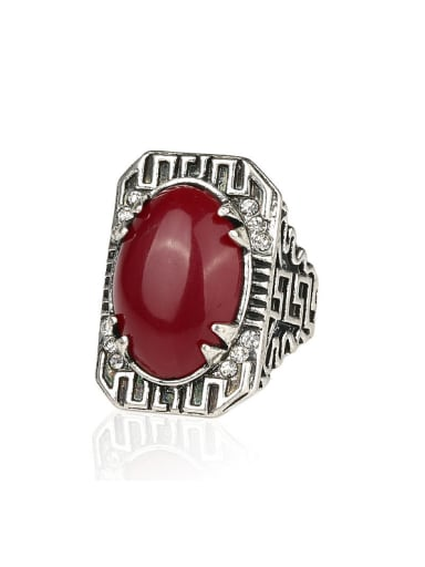 Retro style Oval Resin stone Carved Alloy Ring