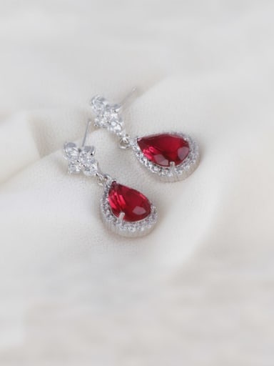 Diamond Zircon Drop Rose Red High-grade Dinner drop earring
