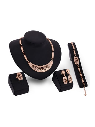 new 2018 2018 Alloy Imitation-gold Plated Vintage style Rhinestones Hollow Four Pieces Jewelry Set