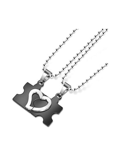 Black Puzzle Heart-shaped Lovers Necklace