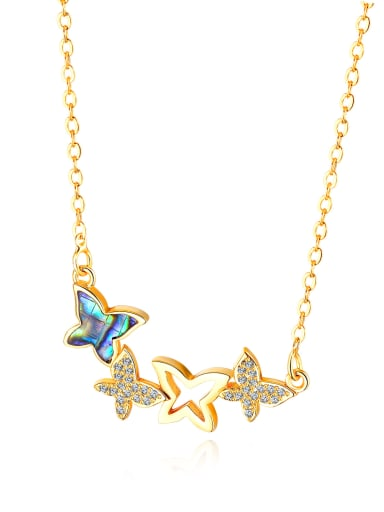 Copper With 18k Gold Plated Cute Butterfly Necklaces