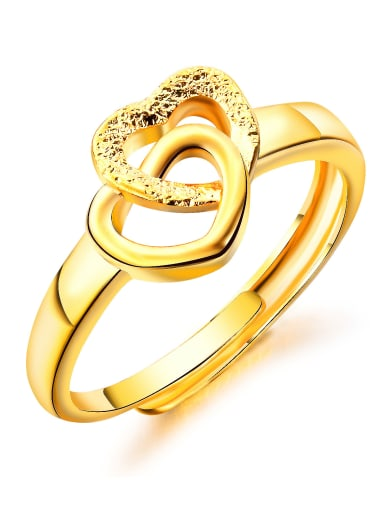 Copper With 18k Gold Plated Fashion Heart Wedding Rings