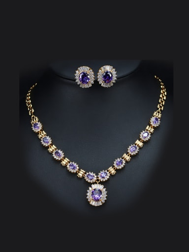 Classical Color Zircon Two Pieces Jewelry Set