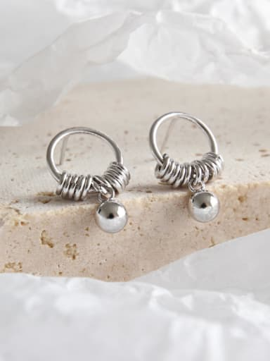 925 Sterling Silver With Platinum Plated Simplistic Round Tassels Bead Stud Earrings
