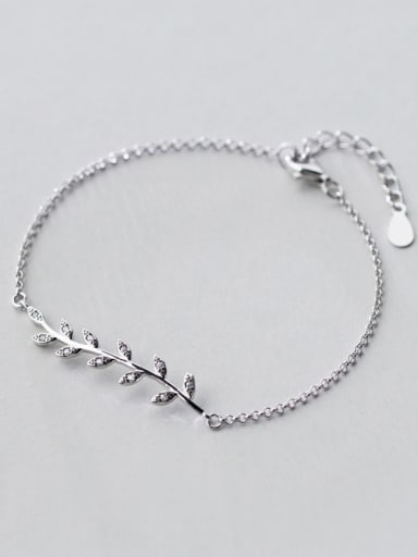 S925 silver exquisite fresh leaves zircon bracelet