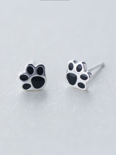 S925 silver puppy's footprints stud cuff earring