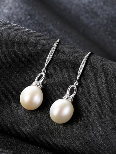 Pure silver with 3A zircon sticky 8-9mm natural freshwater pearl earrings