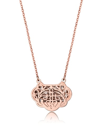 2017 New Lock Plates Rose Gold Necklace
