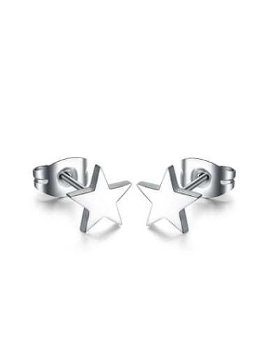 Exquisite Star Shaped High Polished Titanium Stud Earrings