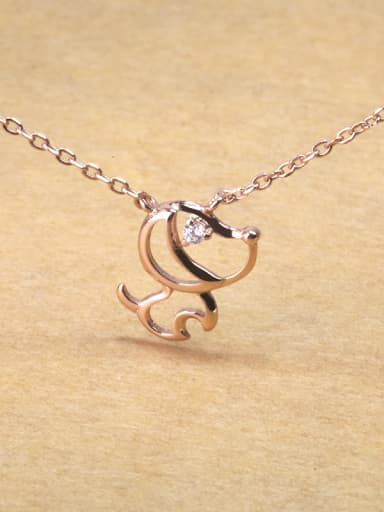 Simple 925 Silver Hollow Puppy Dog Necklace