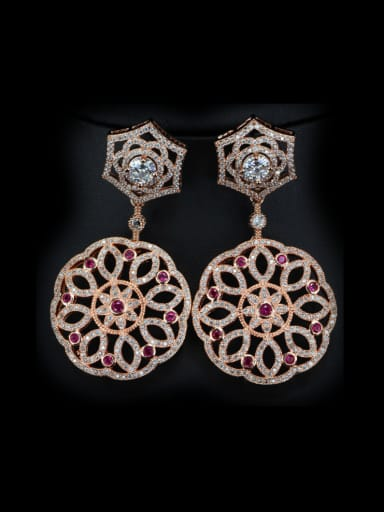 Rose Gold Plated Flower drop earring