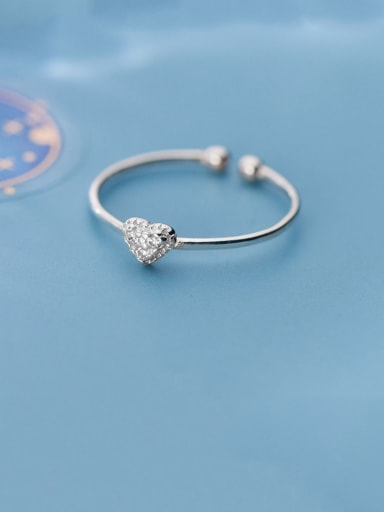 925 Sterling Silver With Platinum Plated Simplistic Heart Free Size  Rings