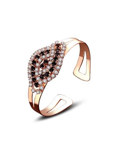 Fashion Shiny AAA Zirconias Gold Plated Copper Bangle