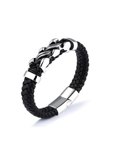 Punk style Titanium Black Woven Artificial Leather Bracelet