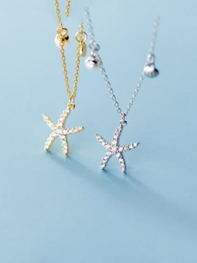 925 Sterling Silver With  Rhinestone Simplistic Starfish Pendant  Necklaces