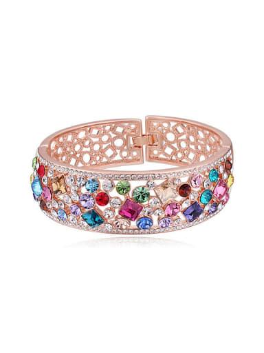 Fashion Shiny Colorful Swarovski Crystals Hollow Alloy Bangle