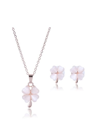 Alloy Rose Gold Plated Fashion Four Leaf Clover Stone Two Pieces Jewelry Set
