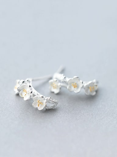 Ethnic Style Gold Plated Flower Shaped S925 Silver Stud Earrings