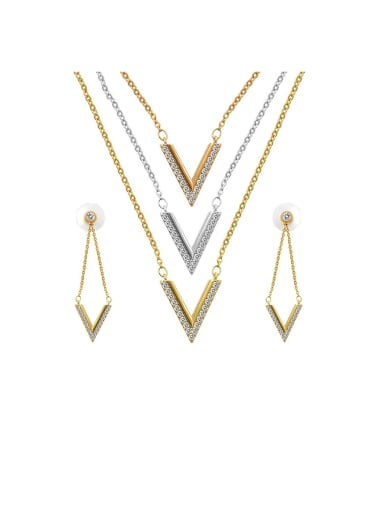 Copper With  Cubic Zirconia  Simplistic V-shaped Earrings And Necklaces 2 Piece Jewelry Set