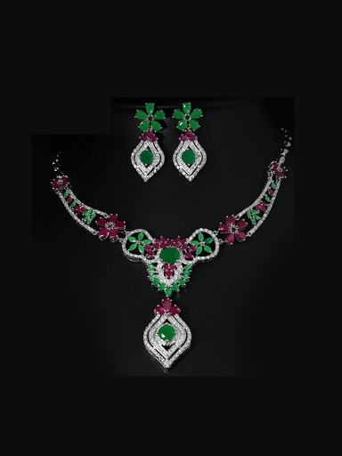 National Style Retro Flower Two Pieces Jewelry Set