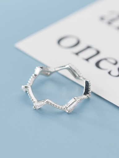 925 Sterling Silver With Platinum Plated Simplistic Fringe Band Rings