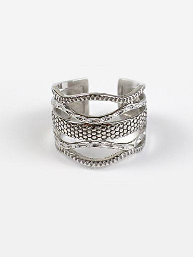 Personalized Snakeskin Silver Opening Ring