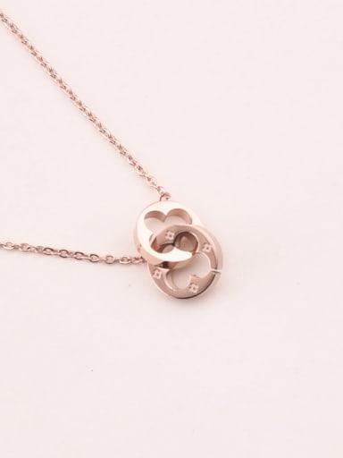 Double Flowers Pendant Clavicle Necklace