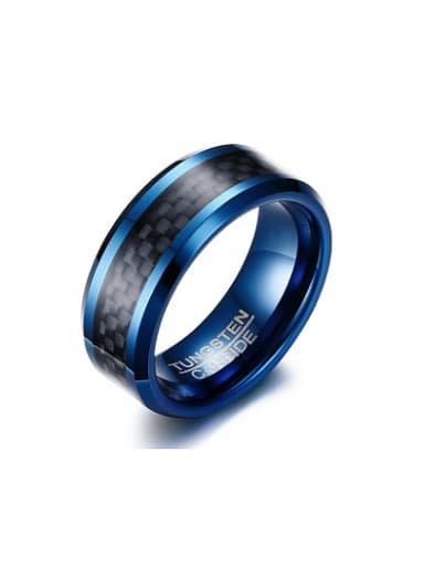 Personality Black Gun Plated Geometric Tungsten Ring